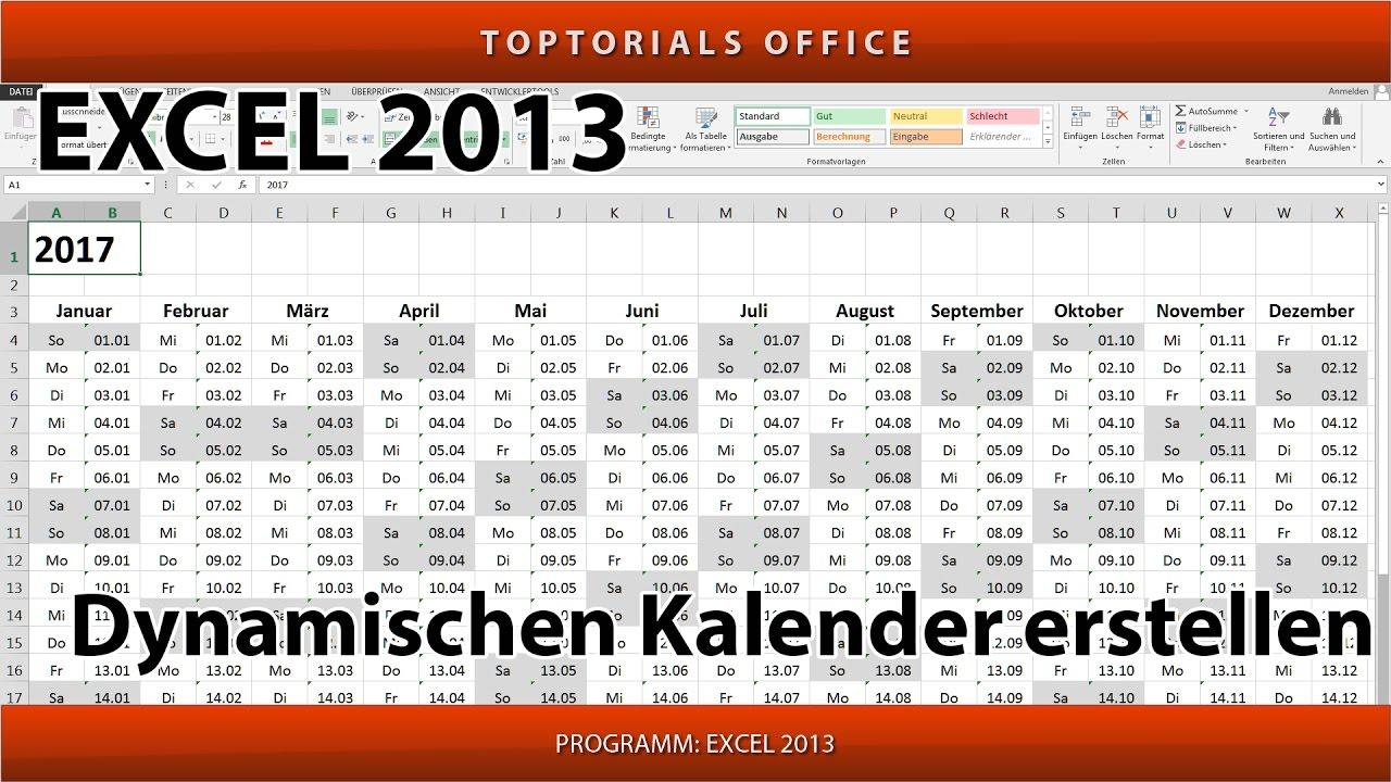 Dynamischer Kalender Mit Excel 2013