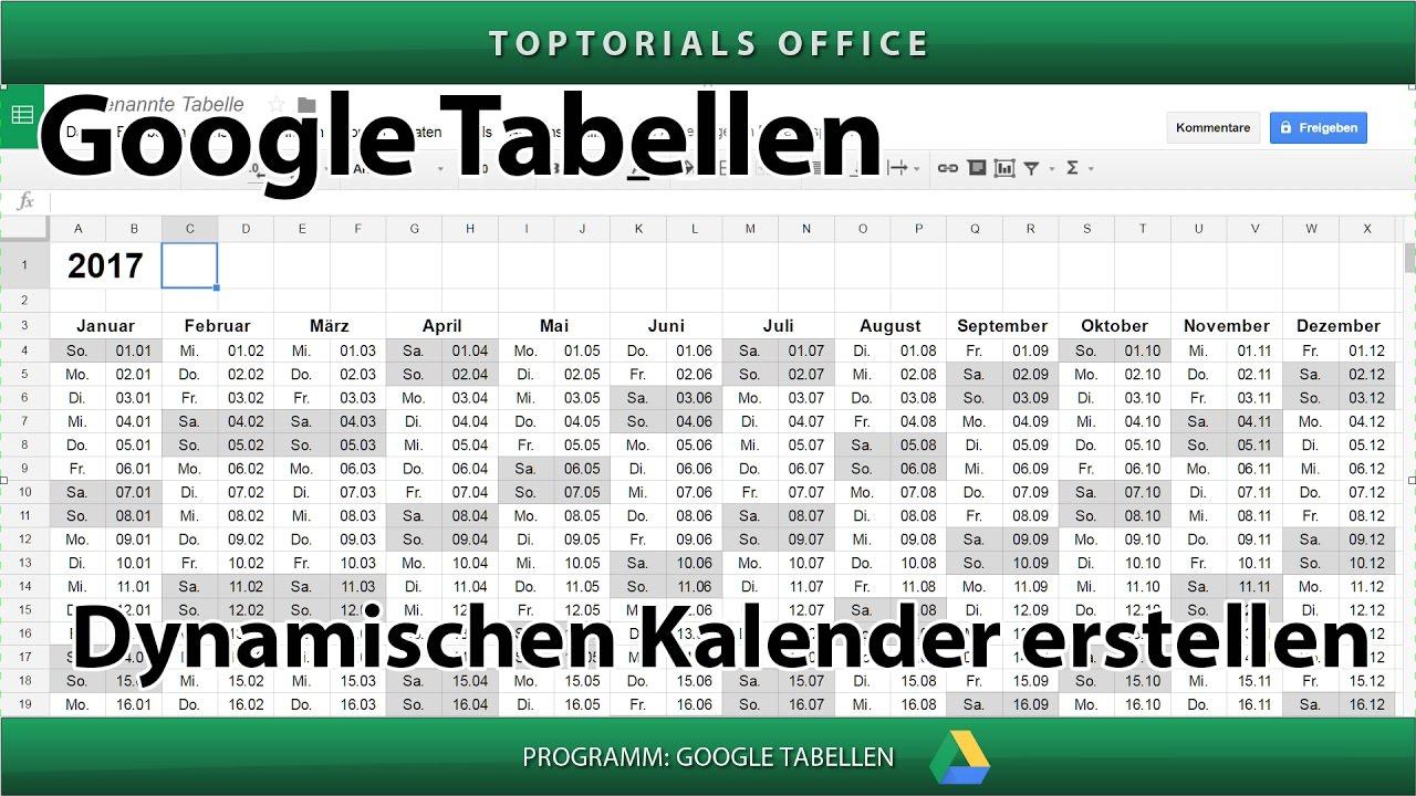 Dynamischer Kalender mit Google Tabellen - TOPTORIALS