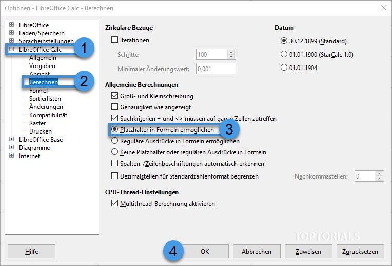 LibreOffice Calc Reguläre Ausdrücke aktivieren