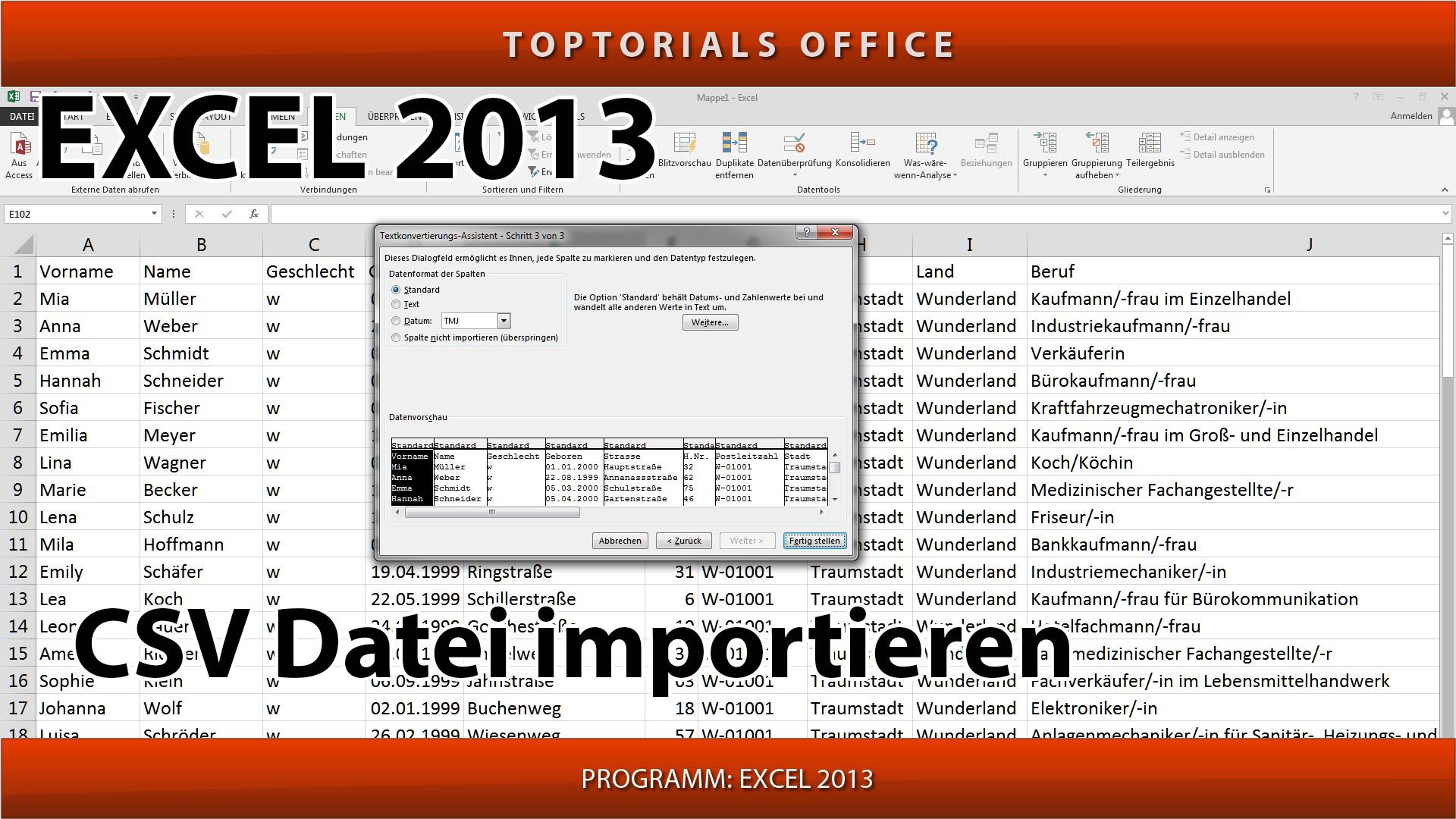 CSV Datei importieren mit und ohne Verknüpfung (Excel) - TOPTORIALS