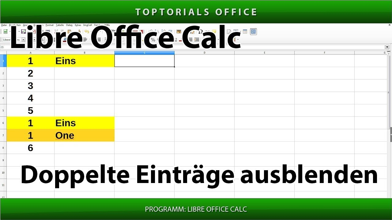 doppelte eintr ge duplikate ausblenden libreoffice calc. Black Bedroom Furniture Sets. Home Design Ideas
