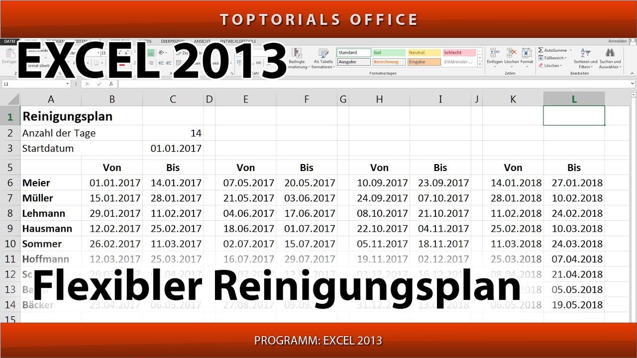 Flexiblen Reinigungsplan erstellen / Putzplan (Microsoft Excel ...