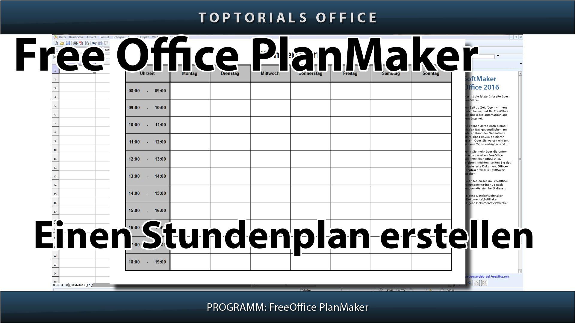Stundenplan    Tagesplan Erstellen  Freeoffice Planmaker