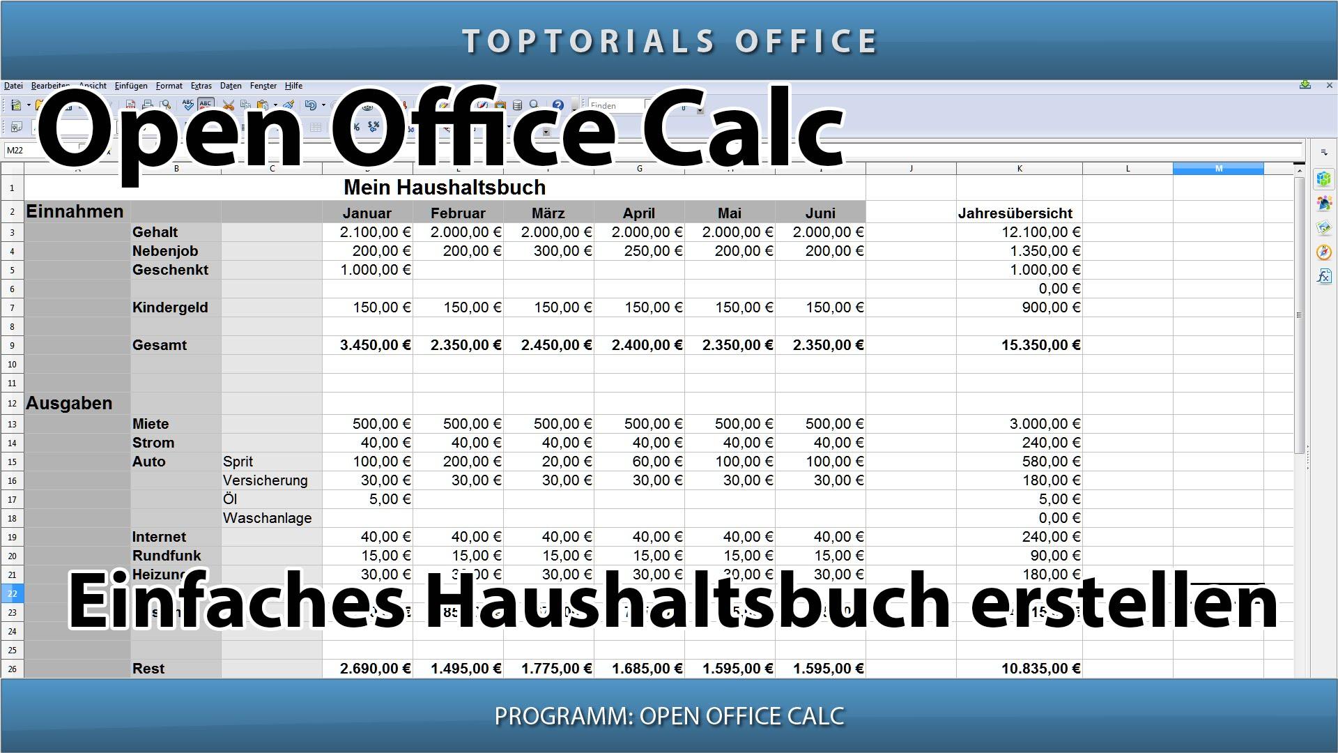 Einfaches haushaltsbuch erstellen openoffice calc for Tabelle open office