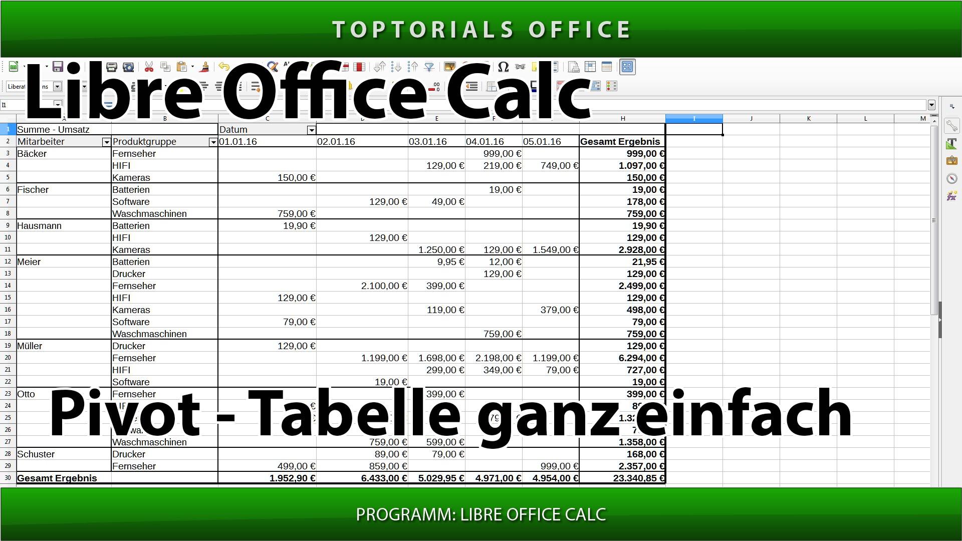 pivot-tabelle erstellen  libreoffice calc