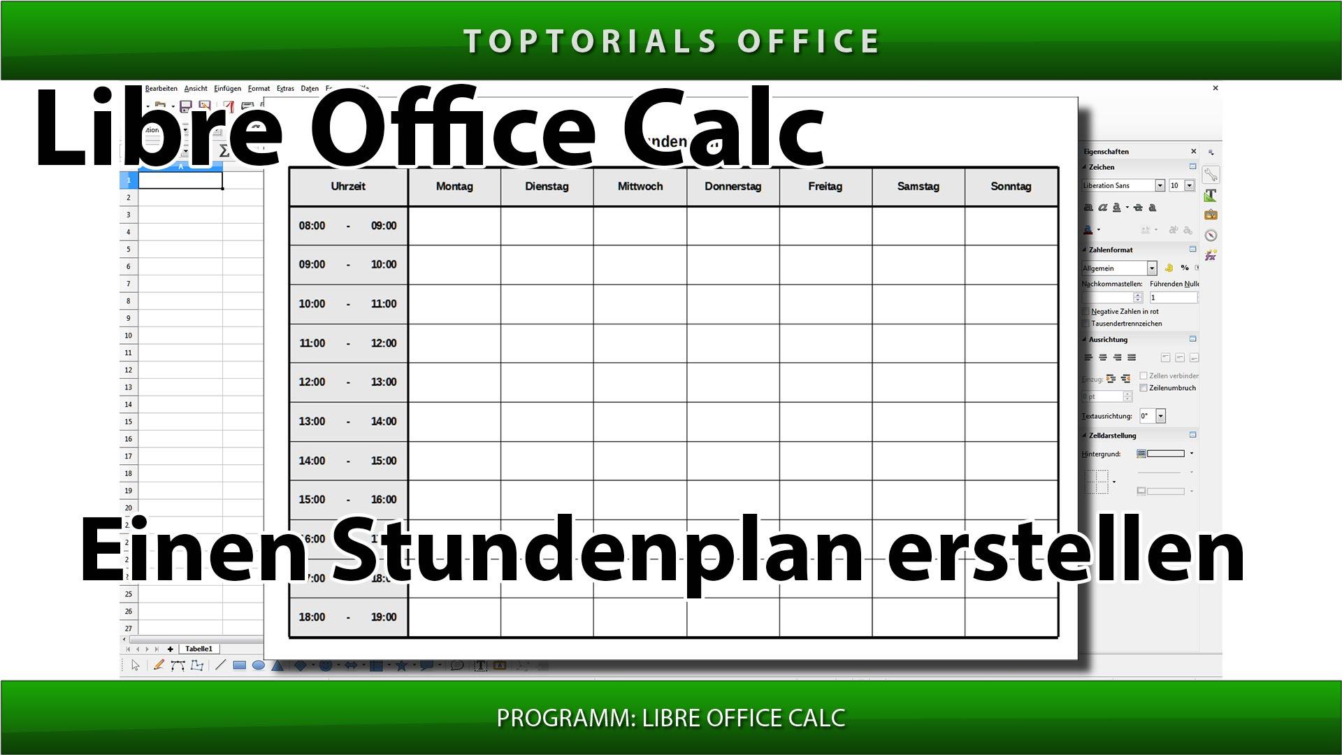 LibreOffice Calc Stundenplan erstellen - TOPTORIALS