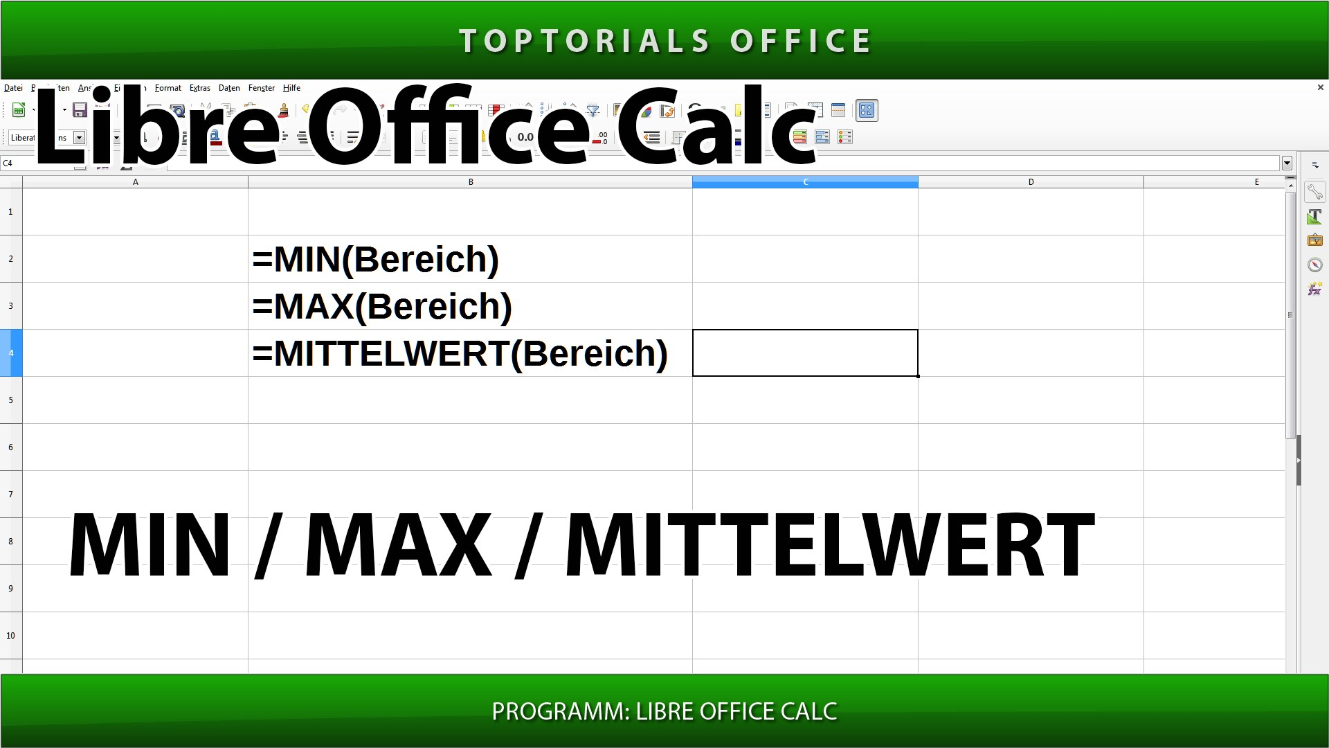 min minimum max maximum und mittelwert mit libreoffice calc toptorials. Black Bedroom Furniture Sets. Home Design Ideas