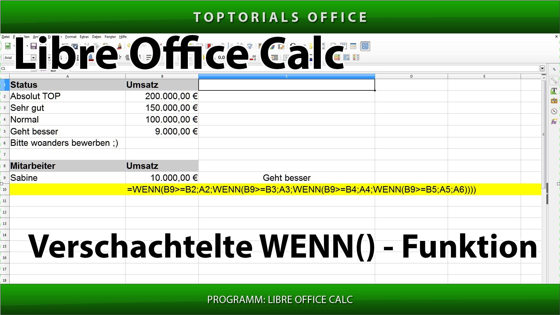 open office wenn funktion
