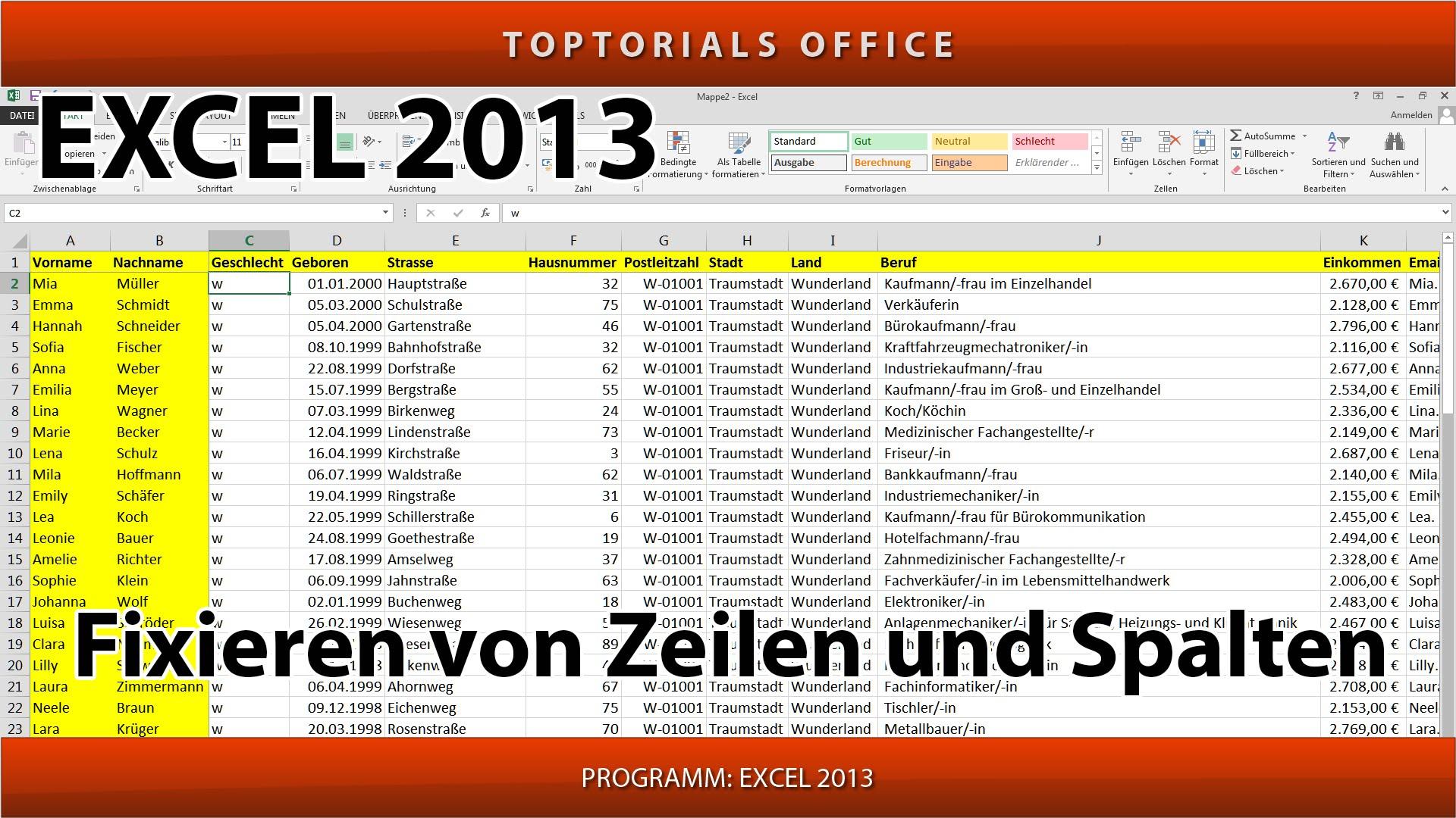 Excel Fenster Fixieren