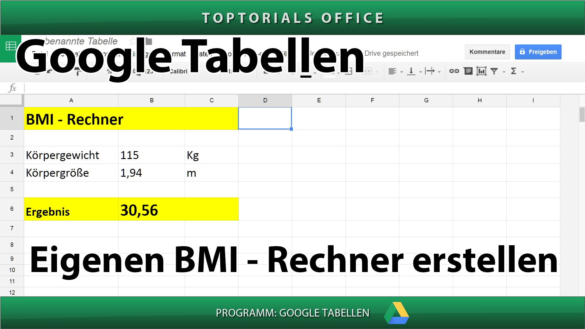 bmi rechner erstellen google tabellen toptorials. Black Bedroom Furniture Sets. Home Design Ideas