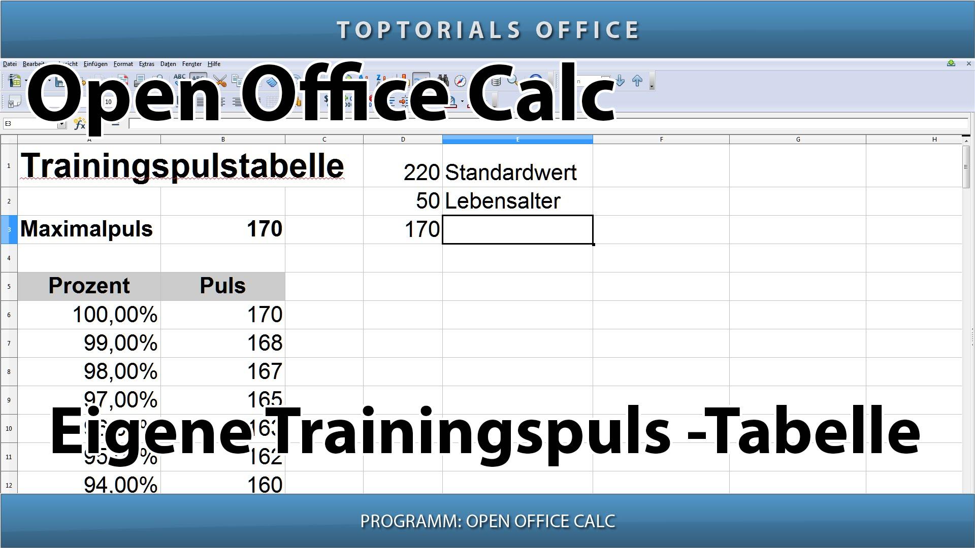 Eigene trainingspuls tabelle open office calc toptorials for Tabelle open office