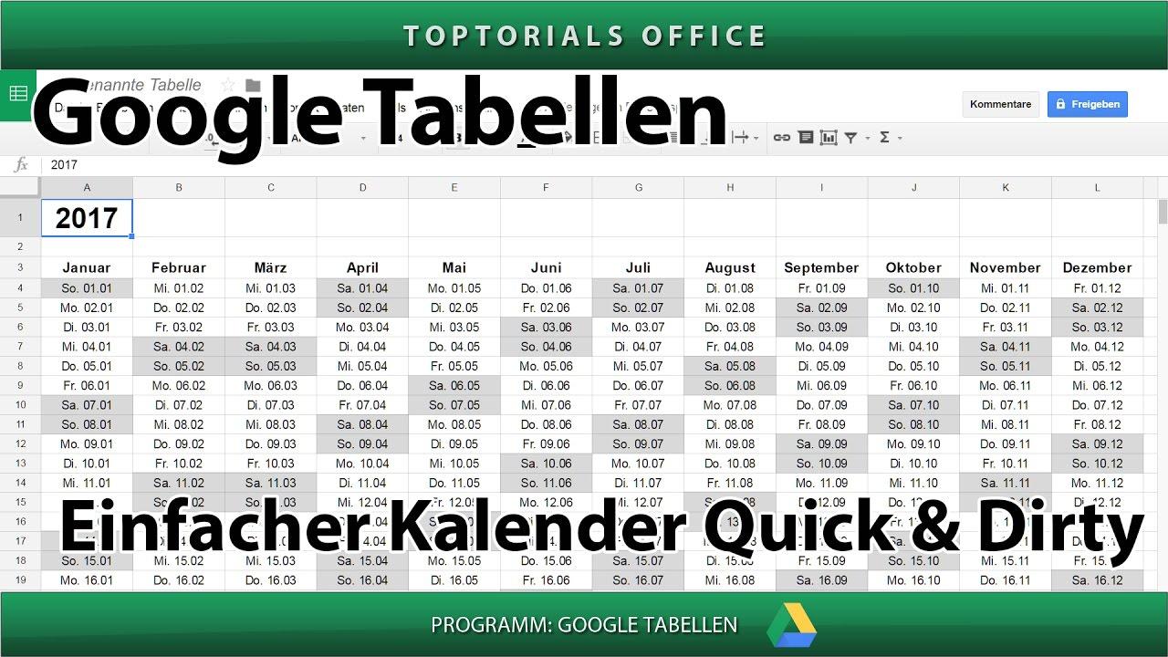 Einfachen Kalender erstellen Quick and Dirty (Google Tabellen ...
