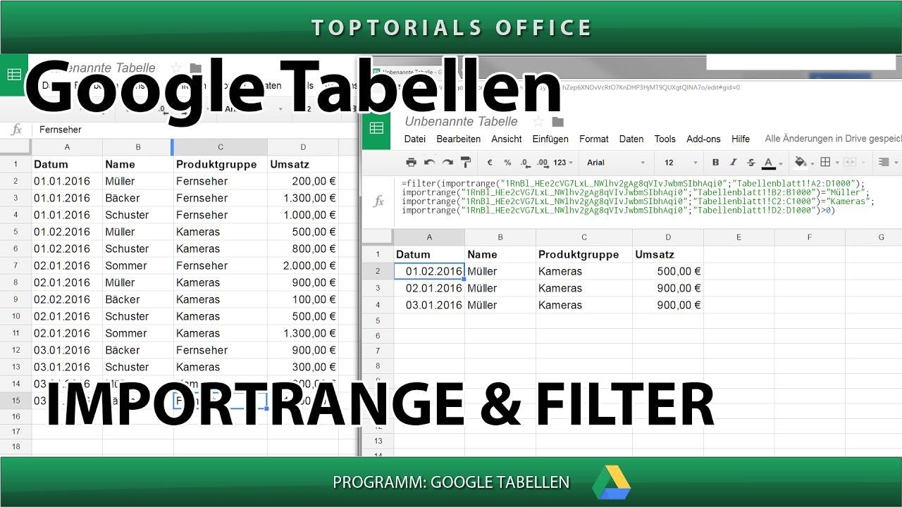 Filter und Importrange kombiniert (Google Tabellen / Spreadsheets ...