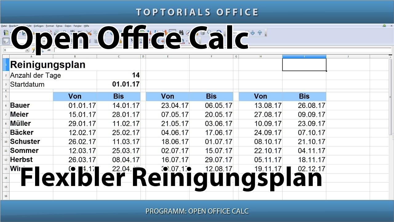 Flexiblen reinigungsplan erstellen putzplan openoffice for Tabelle open office