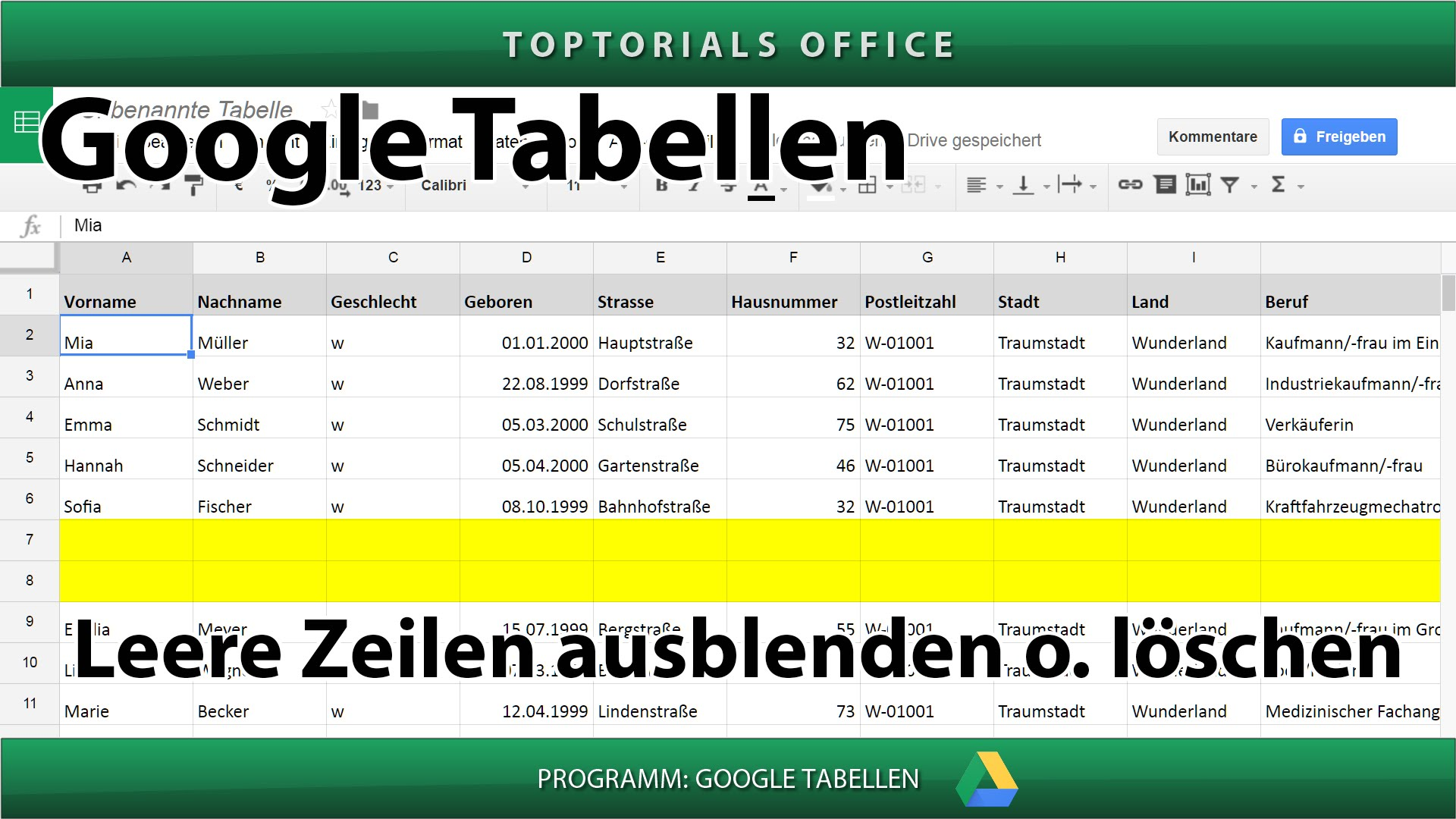 Leere Zeilen löschen oder ausblenden (Google Tabellen) - TOPTORIALS