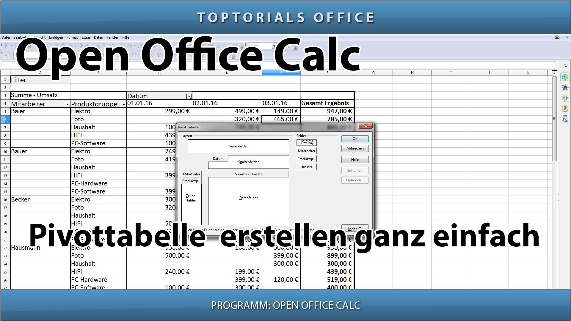 Pivot tabelle erstellen total einfach openoffice calc for Tabelle open office