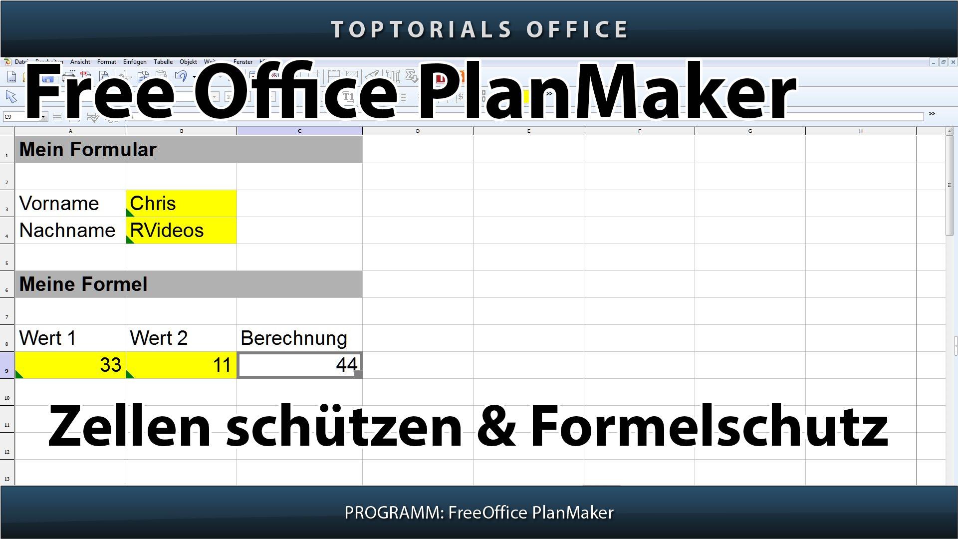 Excel Arbeitsblatt Zellen Schützen : Zellen schützen formel freeoffice planmaker