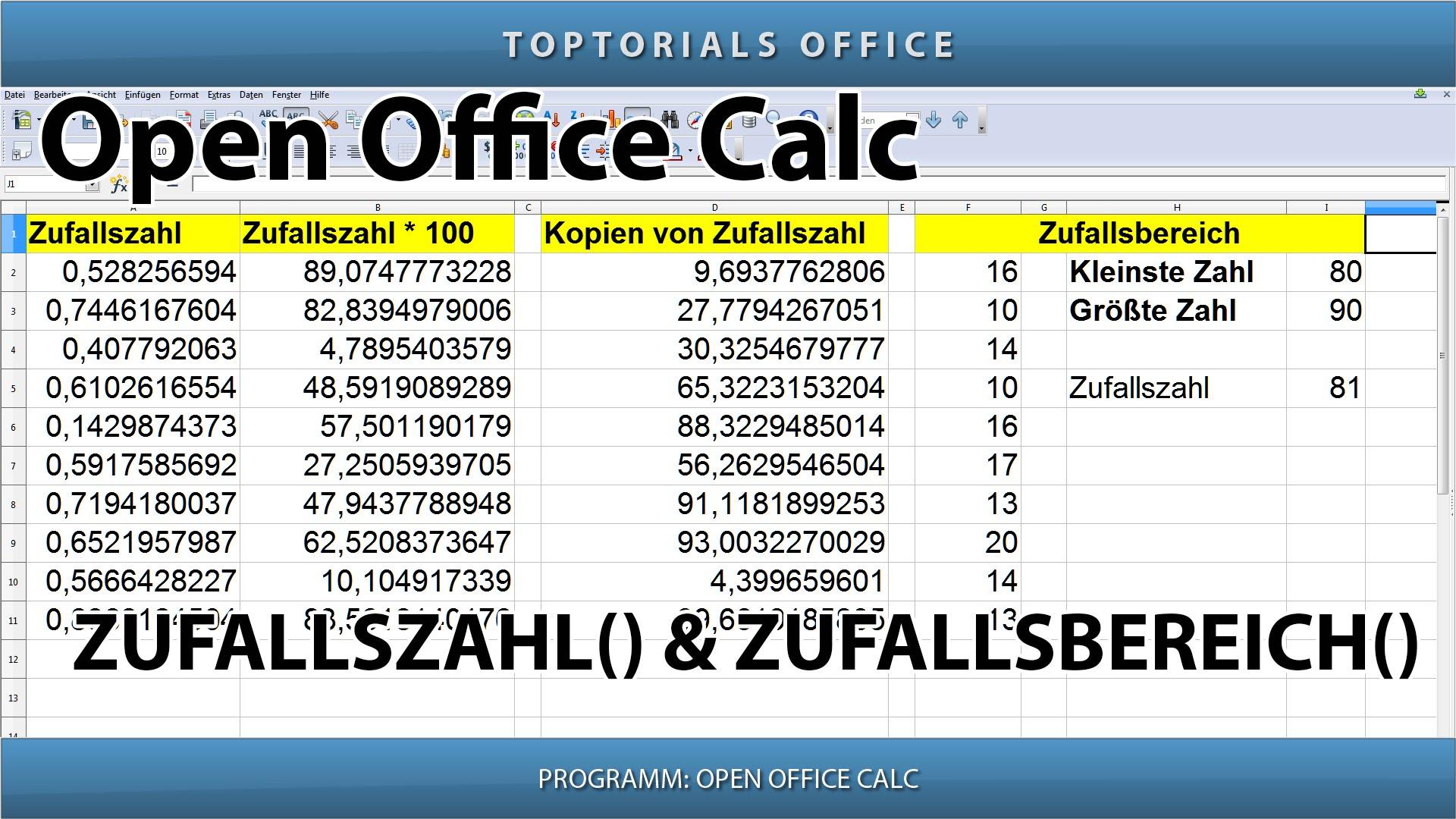 Zufallszahl generieren mit zufallszahl und zufallsbereich for Tabelle open office