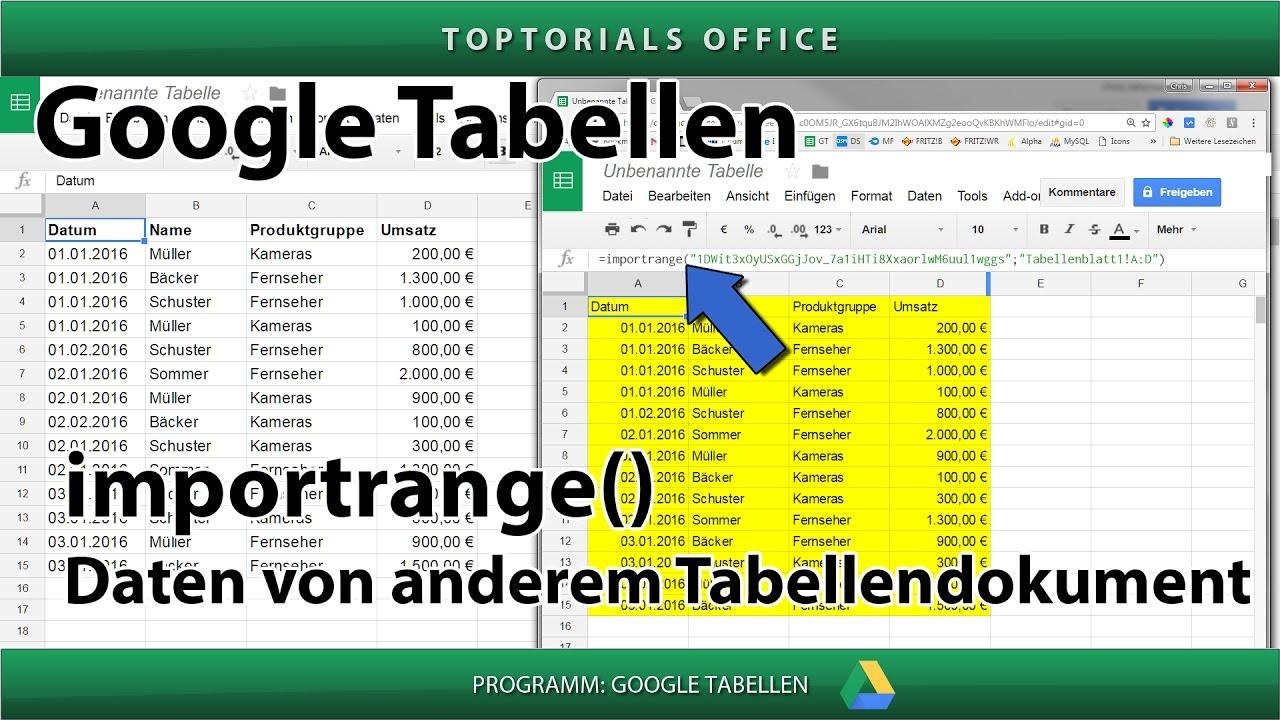 Zugriff auf andere Tabelle mit importrange (Google Tabellen ...