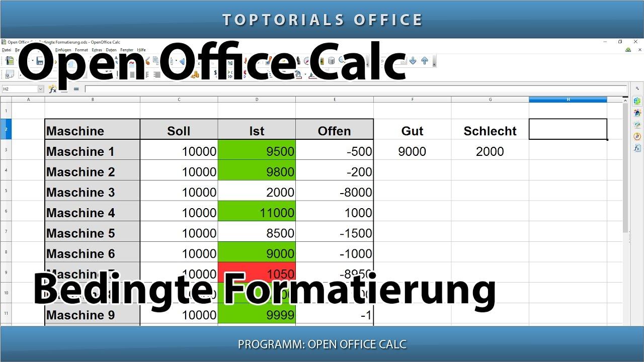 Bedingte Formatierung Openoffice Calc Toptorials