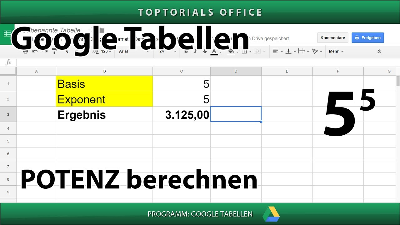potenzen berechnen mit potenz google tabellen spreadsheets toptorials. Black Bedroom Furniture Sets. Home Design Ideas