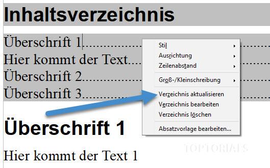 Rechte Maus auf Inhaltsverzeichnis und aktualisieren