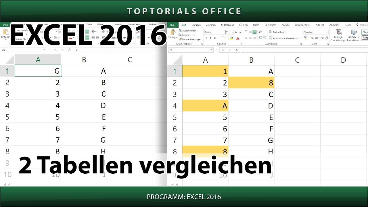 Excel 2 Tabellen Vergleichen