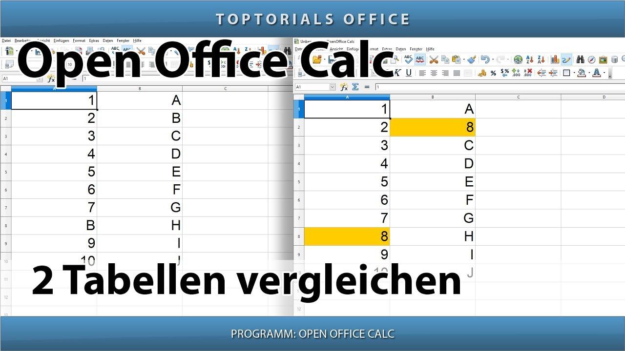 2 Tabellen vergleichen (OpenOffice Calc) - TOPTORIALS