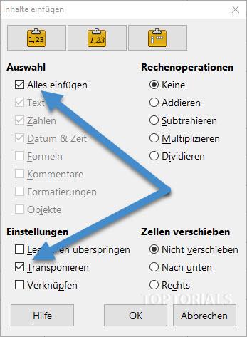 LibreOffice Calc Tabellen drehen