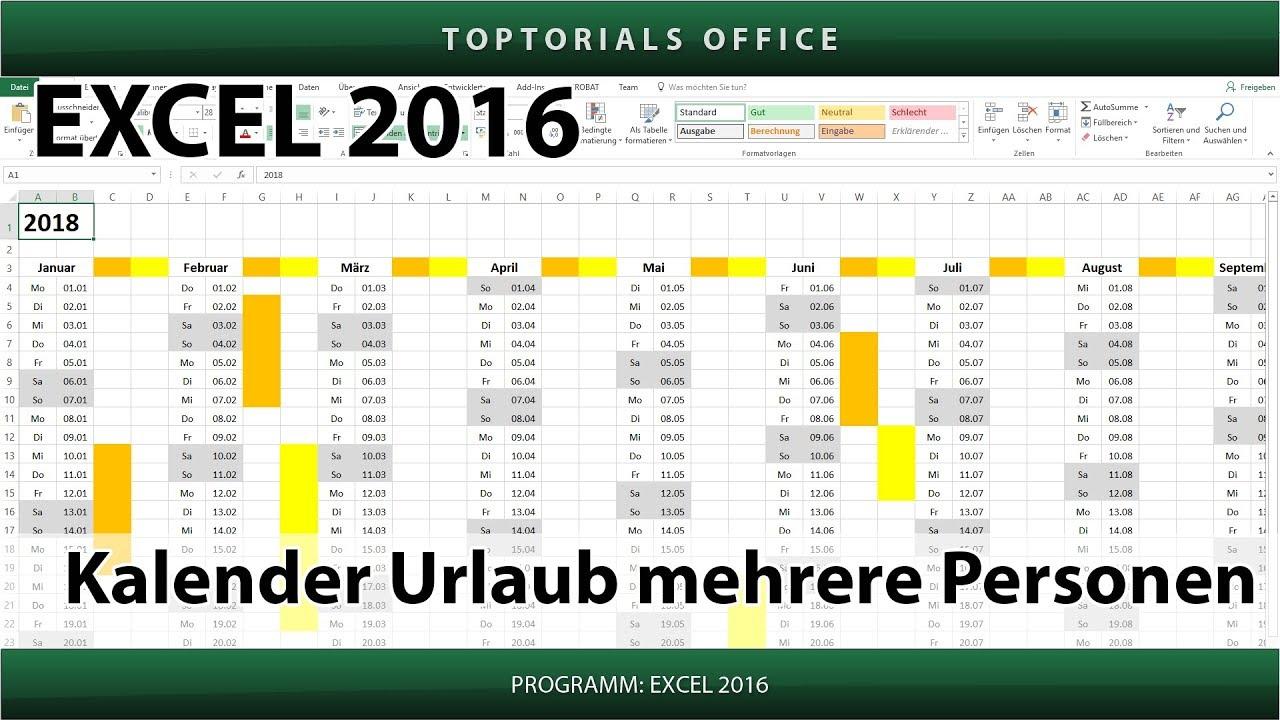 Kalender Datum Zeit (Excel) - TOPTORIALS