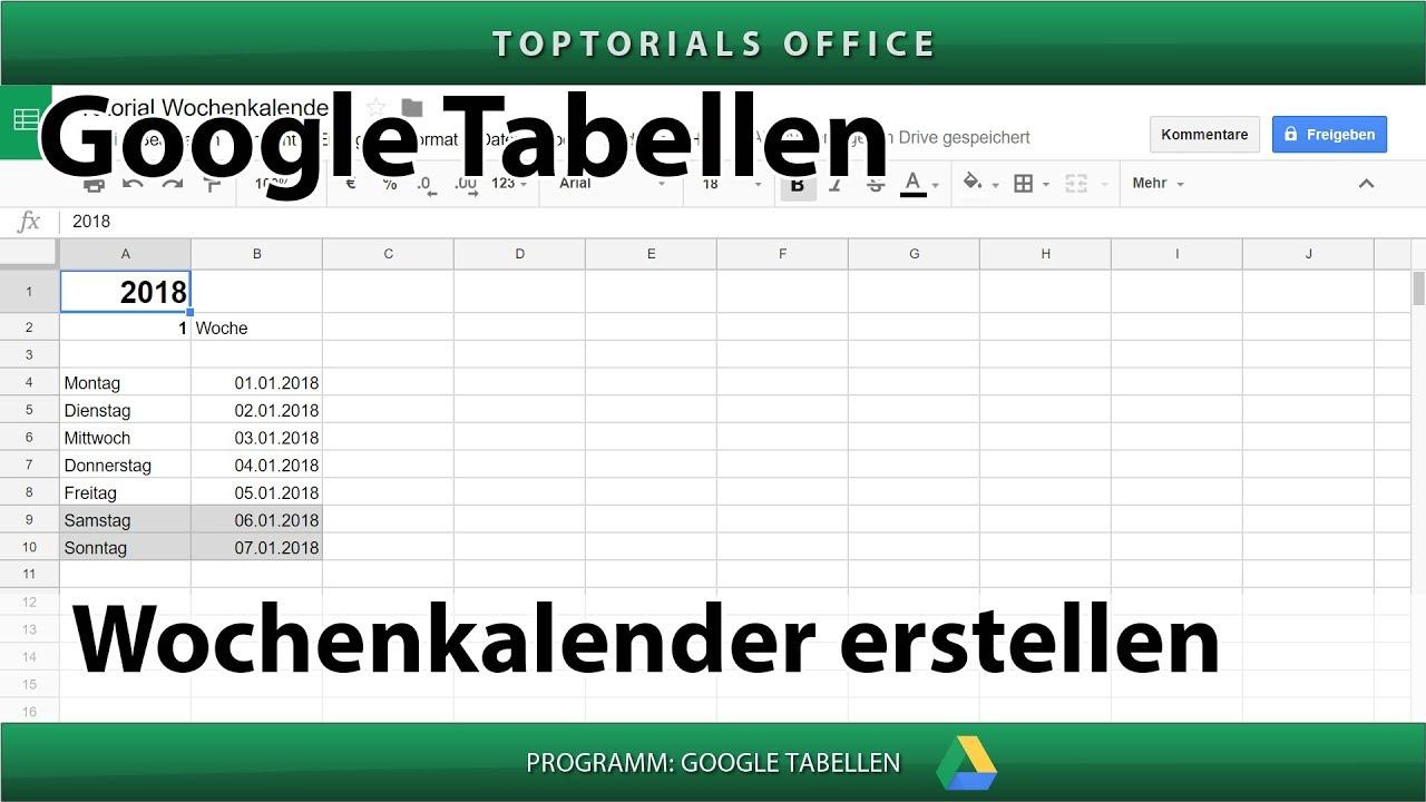 Kalender Datum Zeit (Google Tabellen) - TOPTORIALS