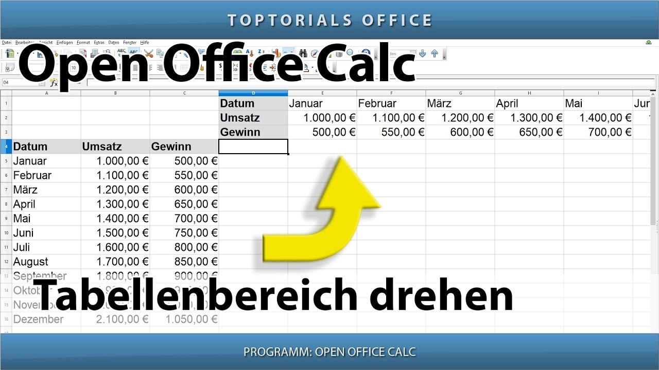 Tabelle drehen tabellenbereich drehen transponieren for Tabelle open office