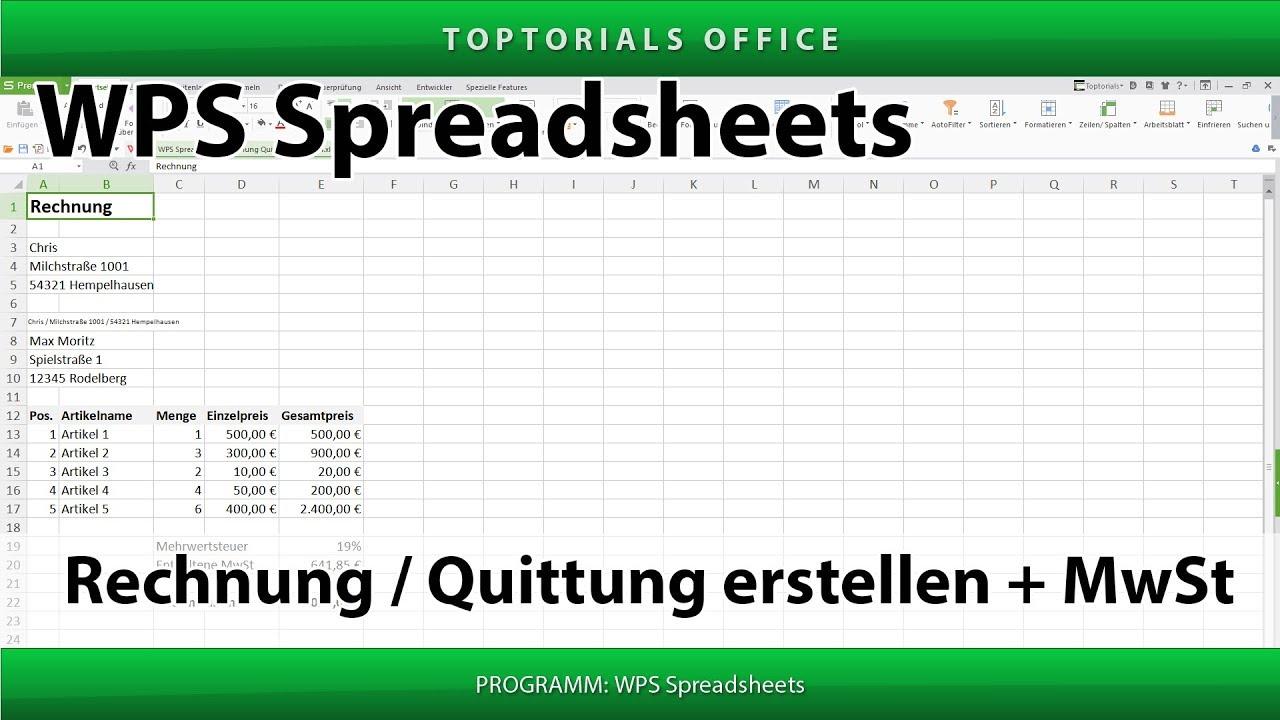 rechnung erstellen mwst wps spreadsheets toptorials. Black Bedroom Furniture Sets. Home Design Ideas