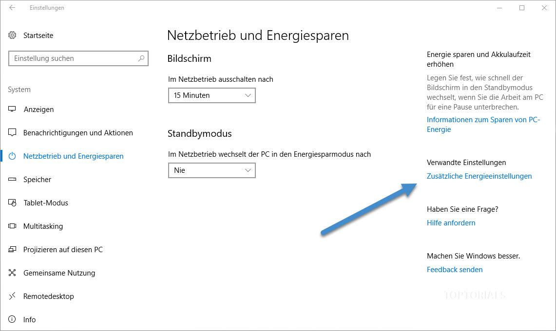 Windows 10 Zusätzliche Energieeinstellungen
