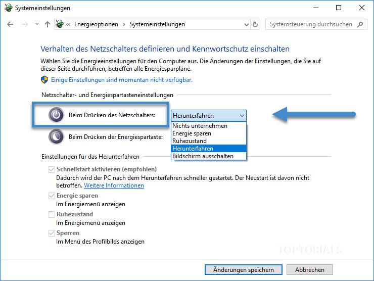 Windows 10 Einstellmöglichkeiten beim Betätigen des Netzschalters