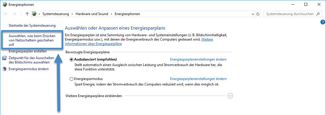 Windows 10. Was soll beim drücken des Netzschalters passieren.