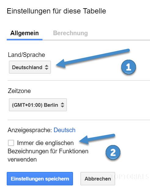 Google Tabellen Einstellungen Sprache