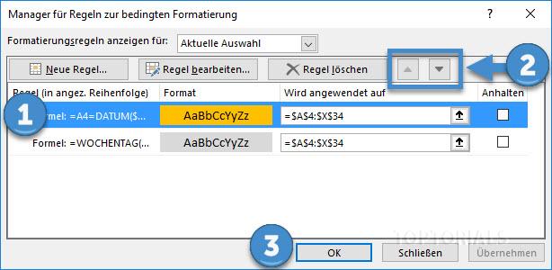 Excel Bedingte Formatierung Priorität ändern