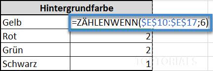 Excel Häufigkeit der Hintergrundfarbe