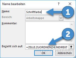 Excel Schriftfarbe definieren