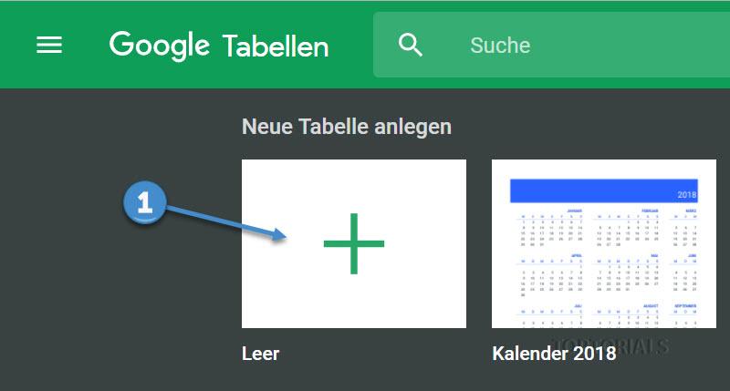 Google Tabelle neu anlegen
