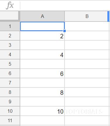 Google Tabellen Ausgabe 1 bis 10 im Zweierschritt durch ein Script