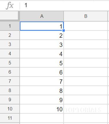 Google Tabellen Ausgabe 1 bis 10 über ein Script