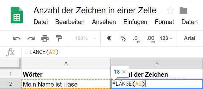 Google Tabellen Anzahl der Zeichen Formel