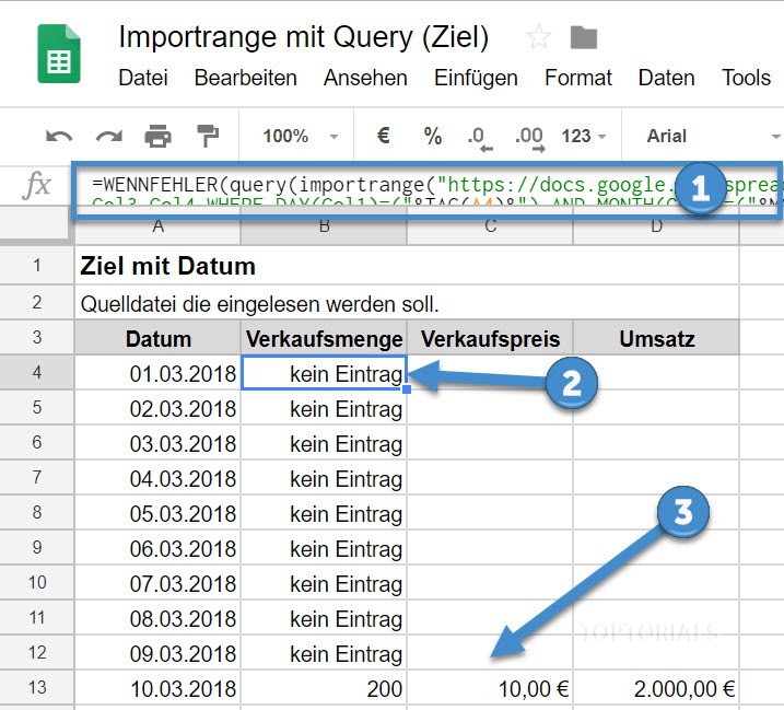 Google Tabellen Importrange Query Datum Ziel
