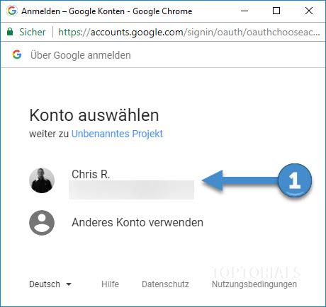 Google Tabellen Script Autorisierungs Konto auswählen