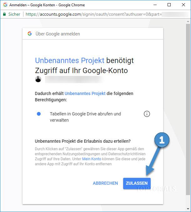 Google Tabellen Script Erlaubnis erteilen