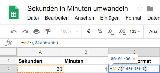 Google Tabellen Sekunden Zeitformat