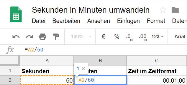 Google Tabellen Sekunden in Minuten Formel