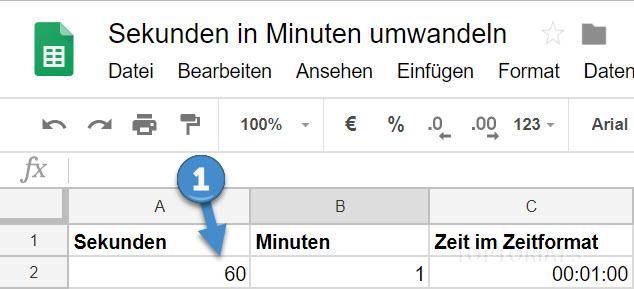 Google Tabellen Sekunden in Minuten umwandeln